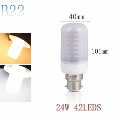 RANPO B22 24W 42LEDs LED Corn Bulb 7030 SMD Light Lamp Milky White Cool Warm White AC 220V