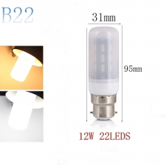 RANPO B22 12W 22LEDs LED Corn Bulb 7030 SMD Light Lamp Milky White Cool Warm White AC 220V