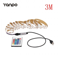 RANPO 3M DC 5V LED Strip RGB Light TV Back Lighting Kit + RF Remote Controller