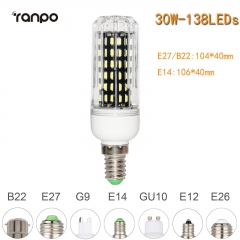 RANPO 30W E14 138leds LED Corn Bulb 4014 SMD Light Cool Warm White Lamp 110V 220V