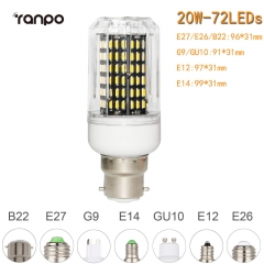 RANPO 20W B22 72leds LED Corn Bulb 4014 SMD Light Cool Warm White Lamp 110V 220V