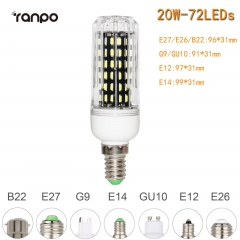 RANPO 20W E14 72leds LED Corn Bulb 4014 SMD Light Cool Warm White Lamp 220V