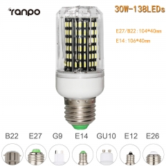 RANPO 30W E27 138leds LED Corn Bulb 4014 SMD Light Cool Warm White Lamp 110V 220V