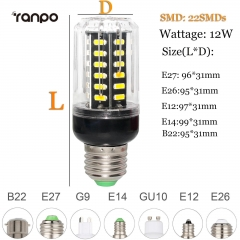 RANPO 15W E27 LED Corn Bulb 28leds 110V 220V 7030 SMD Light Lamp Bright Cool Warm White