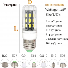 RANPO 12W E27 LED Corn Bulb Light Lamp 7030 SMD 110v/220v  Cool Warm White