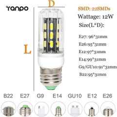 RANPO 12W E26 LED Corn Bulb Light Lamp 7030 SMD 110v/220v  Cool Warm White