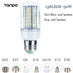 RANPO 30W B22 LED Corn Bulb 4014 SMD Light Lamp Bright Cool Warm White AC 220V