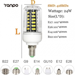 RANPO 24W E26 LED Corn Bulb Light Lamp 7030 SMD 110v/220v  Cool Warm White