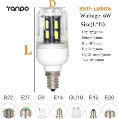 RANPO 9W E26 LED Corn Bulb Light Lamp 7030 SMD 110v/220v  Cool Warm White