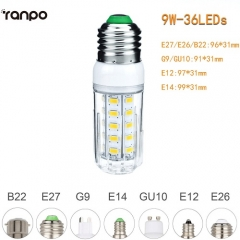 RANPO 9W E27 5730 SMD LED Corn Bulb Light White Lamp Cool Warm Netural white 110V 220V