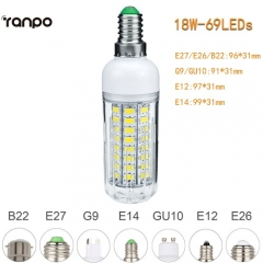 RANPO 18W E27 5730 SMD LED Corn Bulb Light White Lamp Cool Warm Netural white 110V 220V