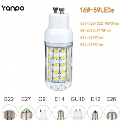 RANPO 16W E27 5730 SMD LED Corn Bulb Light White Lamp Cool Warm Netural white  220V