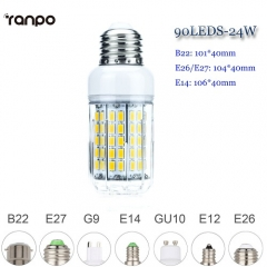 RANPO 24W E14 90 LEDs LED Corn Bulb 5730 SMD Light Lamp Cool Nature Warm White AC 85V-265V