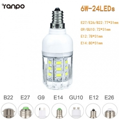 RANPO 6W E26 5730 SMD LED Corn Bulb Light White Lamp Cool Warm Netural white 110V