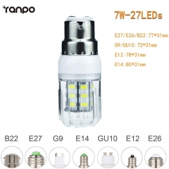 RANPO 7W B22 5730 SMD LED Corn Bulb Light White Lamp Cool Warm Netural white 220V  DC12V DC24V