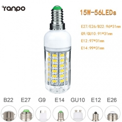 RANPO 15W E26 5730 SMD LED Corn Bulb Light White Lamp Cool Warm Netural white 110V