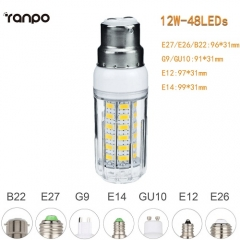 RANPO 12W B22 5730 SMD LED Corn Bulb Light White Lamp Cool Warm Netural white 220V
