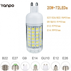 RANPO 20W E26 5730 SMD LED Corn Bulb Light White Lamp Cool Warm Netural white 110V