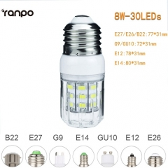 RANPO 8W B22 5730 SMD LED Corn Bulb Light White Lamp Cool Warm Netural white 220V