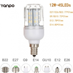 RANPO Dimmable 12W E14 LED Corn Bulb Light 4014 SMD Lamp Cool Warm White AC 220V