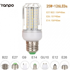 RANPO Dimmable 25W B22 LED Corn Bulb Light 4014 SMD Lamp Cool Warm White AC 220V