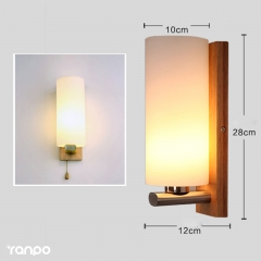 RANPO Wooden Wall Lamp E27 Base Fixture Sconce Hallway Bedroom Home Indoor Decor Light