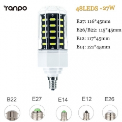 RANPO 27W E27 LED Corn Bulb  Light 7030 SMD White Lamp Cool Warm White 110-265V