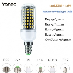 RANPO 11W E27 LED Corn Bulb Light 2835 SMD Halogen Lamp Replacement 110V 220V