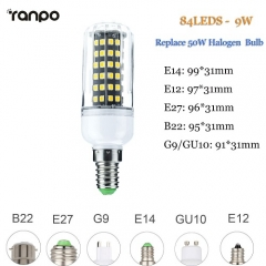 RANPO 9W E27 LED Corn Bulb Light 2835 SMD Halogen Lamp Replacement 110V 220V