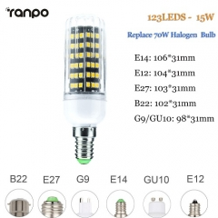 RANPO 15W E27 LED Corn Bulb Light 2835 SMD Halogen Lamp Replacement 110V 220V