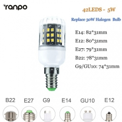 RANPO 5W E27 LED Corn Bulb Light 2835 SMD Halogen Lamp Replacement 110V 220V