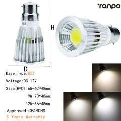 RANPO Dimmable 6W B22 LED COB Spotlight Bulb Light Lamp 12V