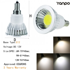 RANPO Dimmable 6W E12 LED COB Spotlight Bulb Light Lamp 12V