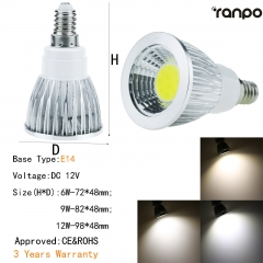 RANPO Dimmable 9W E14 LED COB Spotlight Bulb Light Lamp 12V