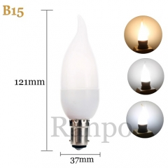 RANPO B15 3W LED Bulb Flame Chandelier Candle Light 2835 SMD 85-265V