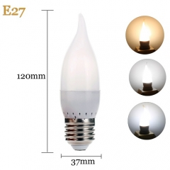 RANPO E27 3W LED Bulb Flame Chandelier Candle Light 2835 SMD 110V 220V