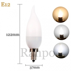RANPO E12 3W LED Bulb Flame Chandelier Candle Light 2835 SMD 85-265V