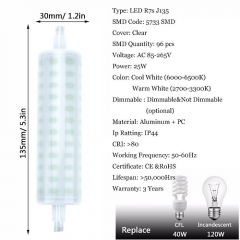 RANPO 25W J135 R7S LED Light Bulb Lampe Halogen Replacement