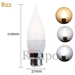 RANPO B22 3W LED Bulb Flame Chandelier Candle Light 2835 SMD 85-265V