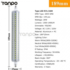 RANPO Dimmable 20W J189 R7S LED Flood Light Corn Bulb Replaces Halogen 2835 220V
