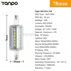 RANPO Dimmable 10W J78 R7S LED Flood Light Corn Bulb Replaces Halogen 2835 110-265V