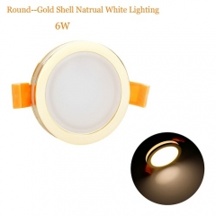 RANPO 6W Round Gloden Shell LED Downlight CREE Recessed Spotlight 110V Ceiling Down Lights Bulbs Lamp Natural White 85-265V
