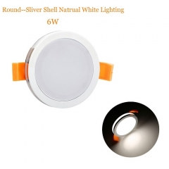 RANPO 6W Round Sliver Shell LED Downlight CREE Recessed Spotlight 110V Ceiling Down Lights Bulbs Lamp Natural White 85-265V