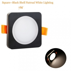 RANPO 7W Square Black Shell LED Downlight CREE Recessed Spotlight 110V Ceiling Down Lights Bulbs Lamp Natural White 85-265V
