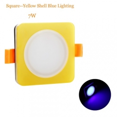 RANPO 7W Blue Color Square Yellow Shell LED Downlight CREE Recessed Spotlight 110V Ceiling Down Lights Bulbs Lamp 85-265V