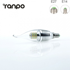 RANPO 5W E27 Flame 3 Colors LED Corn Bulb Candle Light 2835 SMD White Lamp
