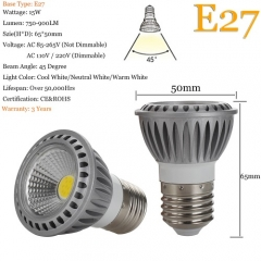 RANPO 15W E27 LED Bulb Spotlight COB Lamp 85-265V Bright