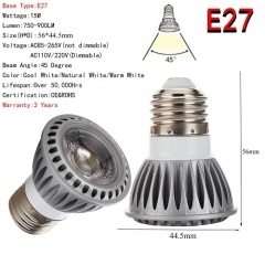 RANPO E27  LED Spotlight 15W COB Lights Bulb CREE Lamp Ultra Bright 85-265V Warm / Neutral / Cool White