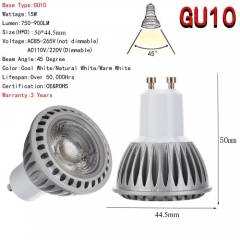 RANPO GU10 LED Spotlight 15W COB Lights Bulb CREE Lamp Ultra Bright 85-265V Warm / Neutral / Cool White