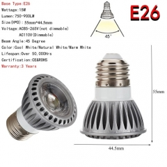 RANPO E26 Dimmable LED Spotlight 15W COB Lights Bulb CREE Lamp Ultra Bright 110V 220V Warm / Neutral / Cool White